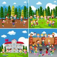 Een reeks kinderen die activiteit doen vector
