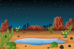 Een woestijntafereel 's nachts vector