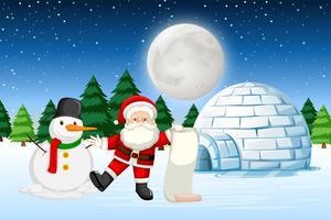 Kerstman in de winterlandschap vector
