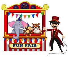 Dierlijke Circus Show op witte achtergrond vector