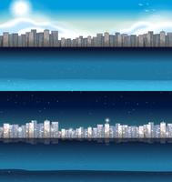 Gebouwen in de stad bij dag en nacht