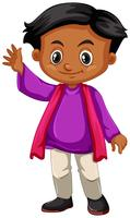 Weinig jongen in purpere overhemds golvende hand vector