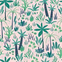 Naadloos patroon met abstracte tropische planten. Vector ontwerp.
