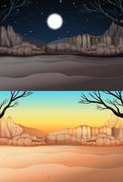 Aardscène met woestijn bij dag en nacht