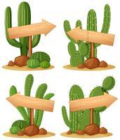 Houten tekens in cactustuin