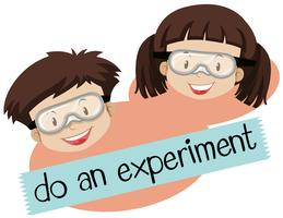 Zin voor doen en experimenteren met jongen en meisje met masker