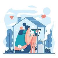 thuiswerken concept met moeder en baby vector
