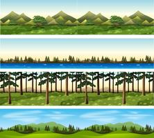 Verschillende achtergrondscènes van bergen en bomen vector