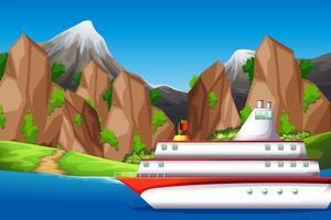 Grote boot in de zee