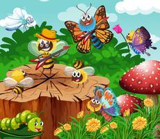 Leuke insecten die in tuin leven vector