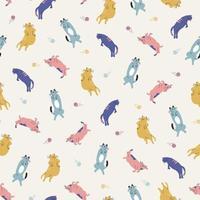 handgetekende kleurrijke kat dier illustratie naadloos herhalingspatroon vector