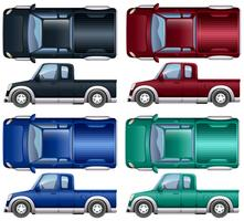 Verschillende kleuren pick-up trucks