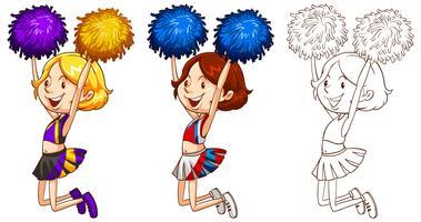 Doodle karakter voor schattige cheerleader