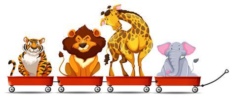 Wilde dieren op rode wagens vector