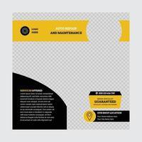 reparatie en onderhoud social media post ontwerpsjabloon vector