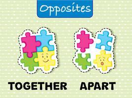 Tegenover woordkaart voor samen en apart vector