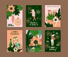 Kerstkaarten met dansende vrouwen en Nieuwjaarssymbolen. vector