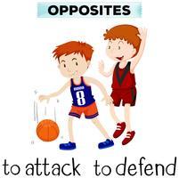Flashcard voor tegengestelde woorden aanvallen en verdedigen