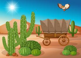 Woestijnscène met wagen en cactus vector