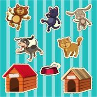 Stickerontwerp voor honden en katten vector