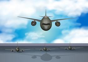 Vliegtuigen die op landingsbaan landen vector