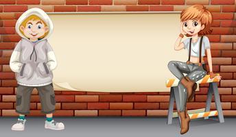 Stedelijke tieners op lege banner vector