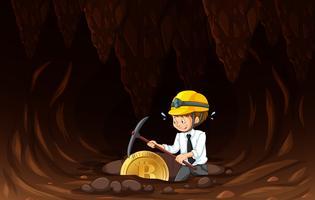 Een kantoorarbeider mijnbouwmunt
