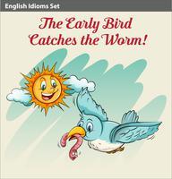 Een vroege vogel die een worm opvangt