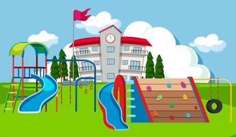 Schoolplein speelplaats scène vector