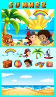 Zomer met kinderen op zee vector