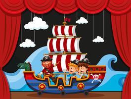 Piraat en kinderen op vikingschip vector