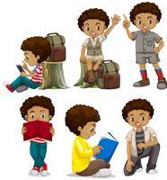 Een reeks Afrikaanse jongenskarakters