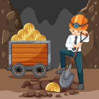 Een man doet Cryptocoin Mining