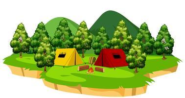 Een geïsoleerde camping scène vector