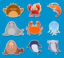 Stickerontwerp voor zeedieren vector