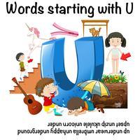 Posterontwerp voor woorden beginnend met U
