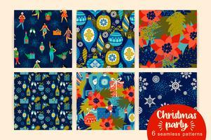 Kerstmis naadloze patronen met dansende vrouwen en Nieuwjaarsymbolen.
