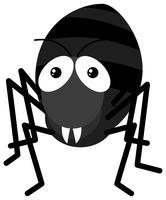 Zwarte mier op witte achtergrond vector