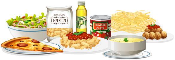 Een set van Italiaanse gerechten
