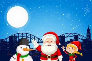Het elf en de sneeuwman van de kerstman op stad backgroung