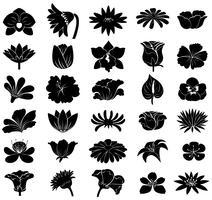 Zwarte bloemensjablonen vector