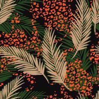 Naadloos exotisch patroon met palmbladen en dierlijk patroon. vector
