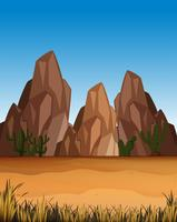 Woestijnscène met bergen en veld