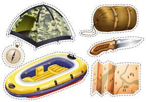 Sticker set van kampeeruitrusting vector