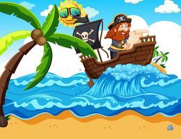 Een piraat die een kaart leest