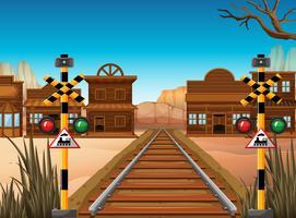 Spoorwegscène in de westelijke stad