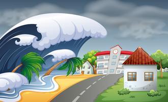 Tsunami raakt de stad vector