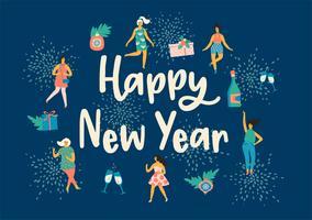 Kerstmis en gelukkig Nieuwjaar illustratie met dansende vrouwen. vector