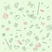 patroon met verschillende soorten pasta. vector