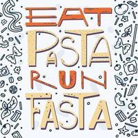 eet pasta ren fasta vector handgetekende letters